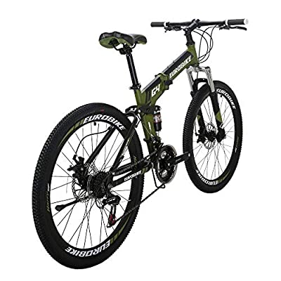 EUROBIKE EURG4 Mountain Bike 21 Speed 26 Inches Dual Suspension Folding Bike Dual Disc Brake MTB Bicycle ArmyGreen
