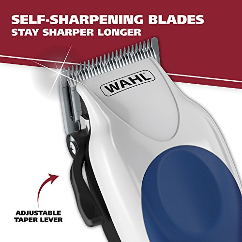 Wahl Color pro Complete Hair Clipper kit with Extended Accessories & Cape, Blue , 29.59 Ounces