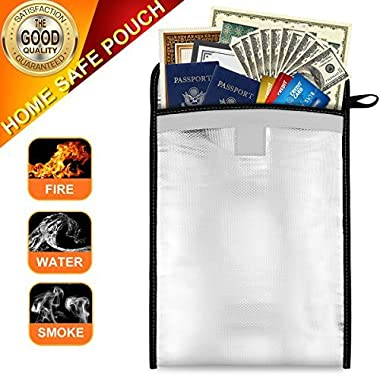 Fireproof Bag, Sungwoo Fireproof Waterproof Pouch for Document Cash Money Passport Bank File and Valuables - Two Sided Aluminum Foil Coated (13'' x 10'')