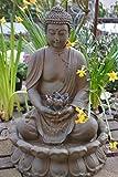 Maison en France Buddhabrunnen 47-50- hübscher Stabiler elektrischer Buddha Brunnen -sitzender Buddha