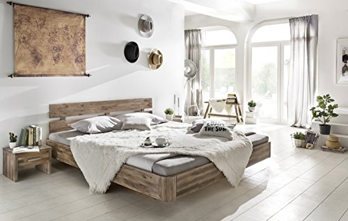 Woodkings® Holzbett Bett 180x200 Hampden Doppelbett Schlafzimmer Massivholz Design Holz Schwebebett Massive Naturmöbel Echtholzmöbel günstig (Akazie Rustic)