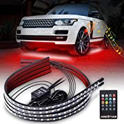 AMBOTHER Car Neon Underglow Lights Waterproof RGB LED Strip Light Multi-colored Underbody Exterior Lighting Kit with Music Mode, Wireless Remote Control, Adjustable Brightness, DC 10V -15V, 4 Pcs