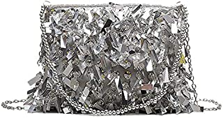 TOOGOO Sequined Diamond Small Square Bag Beaded Handbag Chain Shoulder Slung Female Bag White