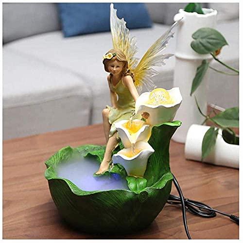 LXHJZ Fuente Agua Interior Hadas/Adornos Resina Feng Shui Cascada para decoración del hogar...