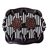LOVEF Women Magic Hair Combs Wood Beaded Stretch Double Side Combs Clips Bun Maker Hair Accessories (Coffee)