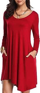 Women's Long Sleeve Pockets Loose T-Shirt Dress Asymmetrical Hem