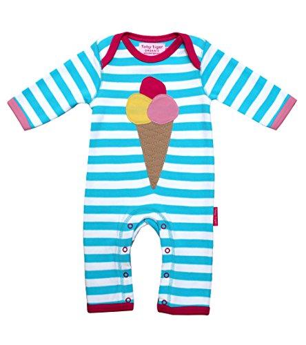 Toby Tiger - Body Bébé fille Organic Ice Cream Sleepsuit - Bleu (Blue) - 9 mois