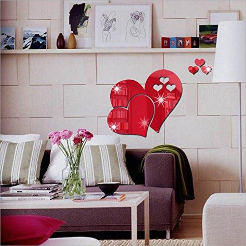 DAY8 Stickers Muraux Chambre Adultes Salon Citations 3d Stickers Muraux Miroir Coeur (Rouge)