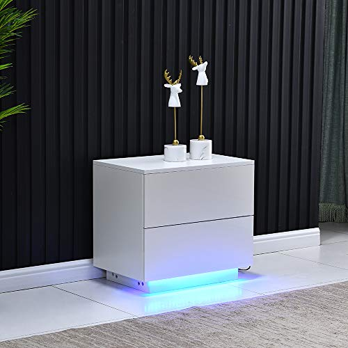 Homesailing EU High Gloss LED Bedside Table with 2 Drawers End table Nightstand Cabinet with LED Lighting Side Table for Living Room Bedroom (White)