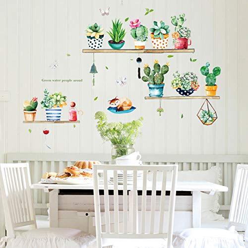 Wandtattoo Grüne Kaktus Pflanzen Wandsticker, TANOSAN Bonsai Kaktus-Wand-Aufkleber, Entfernbarer Kunst DIY Wohnkultur Wandaufkleber Wandbilder für Wohnzimmer Schlafzimmer Fenster