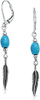 Native American Style Stabilized Turquoise Feather Leaf Leverback Dangle Earrings For Women Teen 925 Sterling Silver