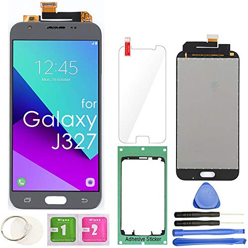 Samsung Galaxy J327 LCD Display Screen Replacement Touch Digitizer Assembly for J3 2017 Prime/Emerge J327 J327A J327V J327P J327T1 J327R4 with Repair Tools & Screen Protector (Gray)