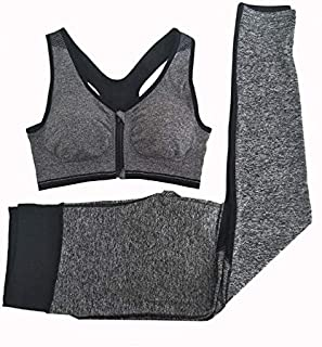 BEESCLOVER Women Elastic Gym Running Sets Front Zipper Yoga Bra & Mesh Sport Pants Suits,Breathable Quick Dry Athletic Fitness Sets