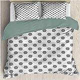HELLOLEON - Ropa de cama de lujo, diseño de mosaico de poliéster, suave y transpirable (Queen)