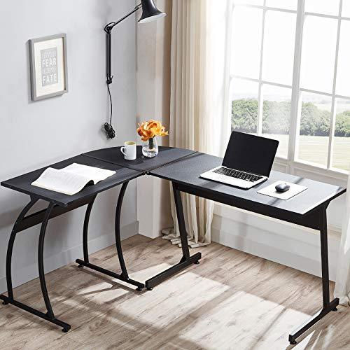 Escritorio en forma de L de 147,6 cm para computadora con esquina redonda, escritorio de oficina en casa, mesa de juegos para escribir en la estación de trabajo para PC, ahorro de espacio, color negro