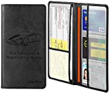 Car Registration and Insurance Card Holder,Tildosac Premium PU Leather Vehicle Glove Box Paperwork Wallet Case Document Organizer for Driver's License Key Information Cards With Magnetic Closure Black