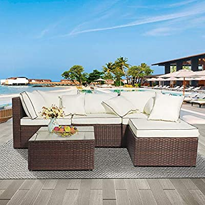 DKLGG Outdoor Patio Furniture Set 5 Pieces Patio Furniture Sectional Set Rattan Conversation Sofa Sets Low Back All-Weather Cushioned Garden Sofa Set with Glass Coffee Table(Beige-5 Pieces)