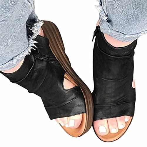 BBOOY Sandalias de Plataforma para Mujer, Sandalias Retro Peep Toe con Cremallera Lateral, Sandalias de Tobillo de Playa con tacón de cuña de Verano Transpirable Aumentado