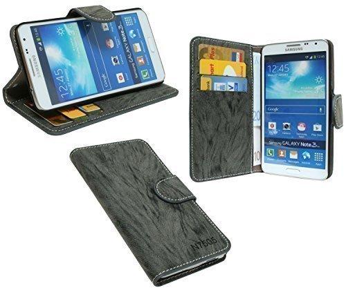 ENERGMiX Buchtasche kompatibel mit Samsung Galaxy Note 3 Neo (N7505) Hülle Case Tasche Wallet BookStyle mit Standfunktion in Anthrazit