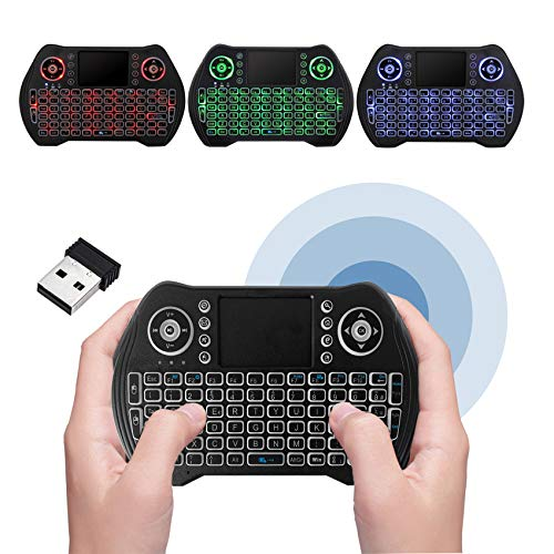 Mini Tastiera Wireless Retro Illuminata 2.4G Tastiera Portatile con Mouse Touchpad per Android TV Box Game Pad Smartphone Tablet Mac Linux Windows OS Mini Tastiera Aggiornata