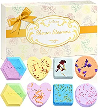 Shower Steamers Aofmee Shower Bombs 8 PCS Shower Steamer Aromatherapy Shower Tablets with Essential Oil Shower Fizzies Bath Bombs Valentines Birthday Mothers Day Christmas Gifts for Women Mom Wife