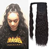 SEIKEA Clip in Ponytail Extension Wrap Around for Women Long Wavy Curly Hair Fluffy Pony Tail 24 Inch - Black Brown