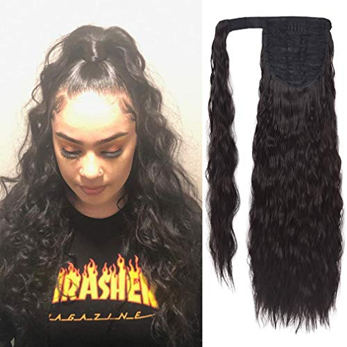 SEIKEA 24 Inch Clip in Ponytail Extension Wrap Around Long Wavy Curly Pony Tail Hair Fluffy Synthetic Hairpiece for Women - Black Brown