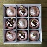 christmasshop PMS Set mit 9 Stück 6 cm Luxus-Dekoration, in Geschenkbox, Roségold