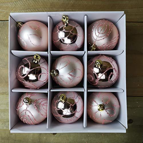 christmasshop PMS Set mit 9 Stück 6 cm Dekoration, in Geschenkbox, Roségold