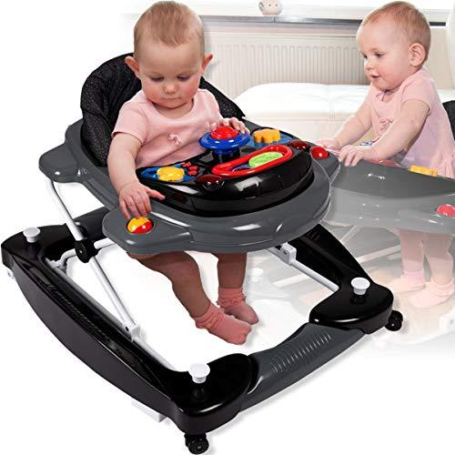 3IN1 Lauflernhilfe mit Spielcenter (12 Melodien) Gehfrei Gehhilfe Baby Walker (BLACK DOT)