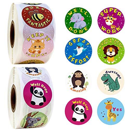 GRESATEK Animal Reward Stickers for Children, 1000 Stickers(2 Pack), 16 Assorted Designs, 1 Inch School Stickers, Teacher Supplies for Classroom