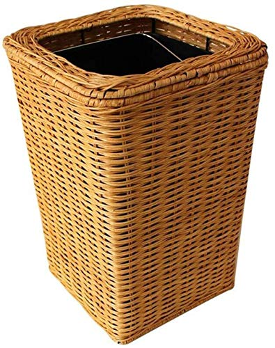 FENGRONG Garbage storage Environmental Uncovered Rattan Trash Can - Home Hotel Bamboo Yellow 6L Trash Can Universal trash can
