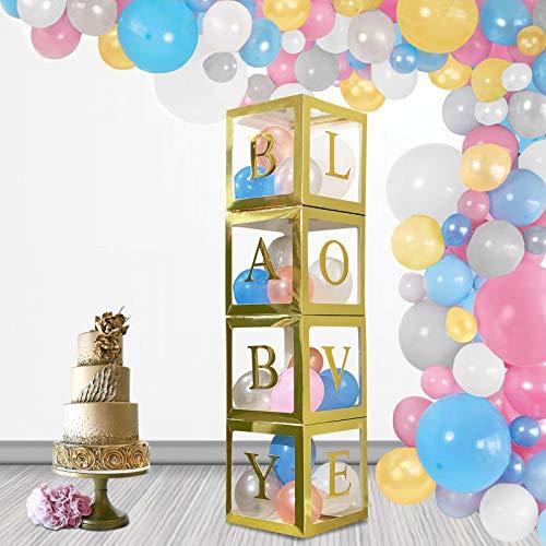 FamShack 96 piezas doradas para revelar el género de las fiestas con globos de revelación de género, juego de guirnalda | Cajas transparentes para bebés con letras para decoraciones de baby shower