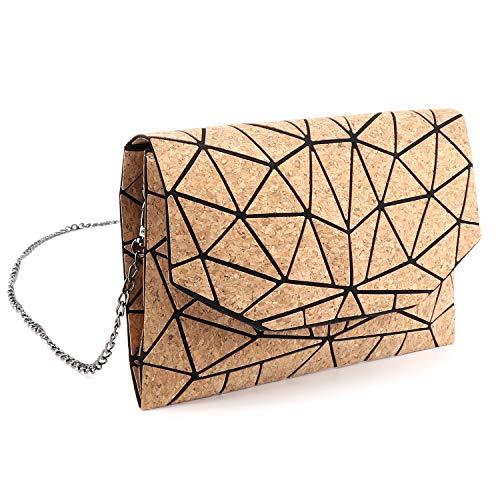Tikea Geometrischer Messenger Bag Fashion Handtasche Kette Crossbody Schultertasche Umweltfreundlich Umhängetasche für Frauen Kork