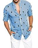 Pxmoda Herren Langarm Hawaiihemd mit Flamingo Stoffdruck Roll up Leinenhemd, L Blau