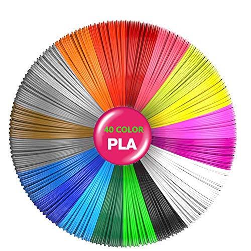 ZXYSHOP Filamento 3D de lápiz, Rusee, 40 Colores, 5 m, Filamento PLA de lápiz 3D, filamento de Tinta, 1,75 mm, impresión 3D, Juego de Colores para lápiz 3D, impresoras 3D, boli 3D