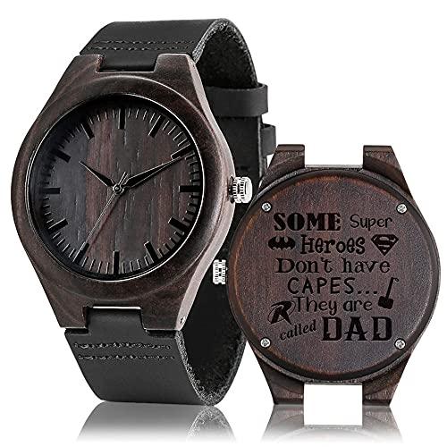 RWJFH Reloj de Madera Relojes de Madera de Cuarzo Reloj de Banda de Cuero para Hombres Reloj de Madera con Estilo Natural Grabado Personalizado Tema de papá Los Mejores Regalos, A
