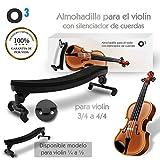 O³ Almohadilla Violin 3/4 a 4/4 Ajustable Para Violin – Con Silenciador De Cuerdas | Soporte Para Violin – Respaldo de Hombro Tamaño Grande De Goma Alcochado | Para Principiantes y Profesionales