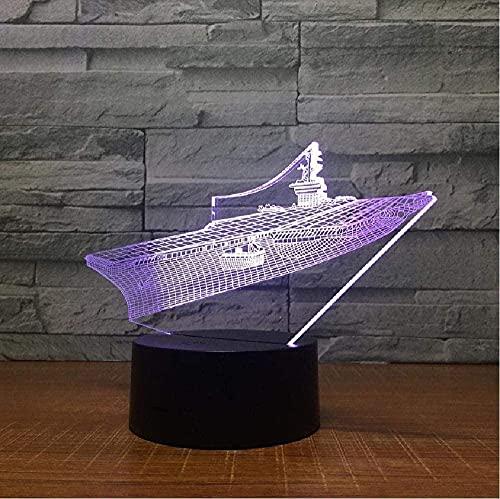 Nuevo barco grande Luz 3D Luz LED USB Luz de estado de ánimo Luz de noche para niños Control remoto táctil de 7 colores Dispositivo emisor de luz Cumpleaños de Navidad Regalo creativo