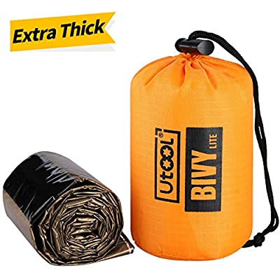 Utool Ultralight Emergency Sleeping Bag Waterproof Bivy Sack Bivvy Cover with Heat Retention for Camping, Hiking & Emergency Shelter