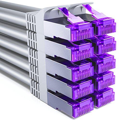 deleyCON 10x 0,25m RJ45 Patchkabel Set Ethernetkabel Netzwerkkabel mit CAT7 Rohkabel S-FTP PiMF Schirmung Gigabit LAN Kabel SFTP Kupfer DSL Switch Router Patchpanel - Grau