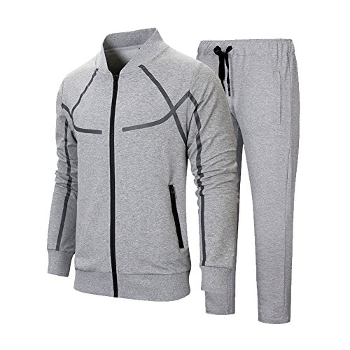 MANLUODANNI Men's Causal Tracksuit Set Full Zip Jogging Sportwear Athletic Sweat Suits with Pockets Dark Gray M
