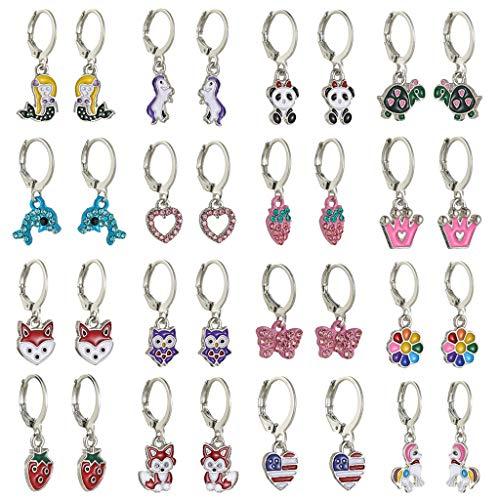 Yushu 16 pares de pendientes de animales mezclados con forma de panda, corazón de delfín, búho, aretes de aro para mujer