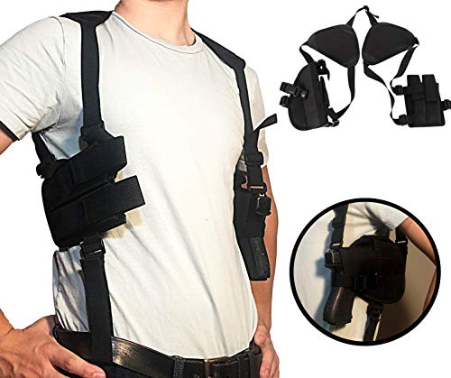 """Holster Concealed Shoulder for Pistols   Fully Adjustable Comfortable   Thin Profile   Double Magazine Holder   2"""" to 4"""" Barrel Side Arm   Extra Pocket Above Side Arm Holster   It's a Nice Holster"""