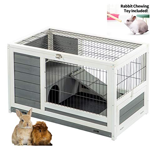 U-MAX Rabbit Hutch Pet House for Small Animals Puniea Pig House Rabbit Cage with Hideout for Rest Bunny House Indoor & Outdoor No Leak Trays & Ladder (35.4 inches)