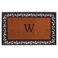 "Home & More 100061830W Rembrandt Doormat, 18"" x 30"" x 1"", Monogrammed Letter W, Natural/Black"
