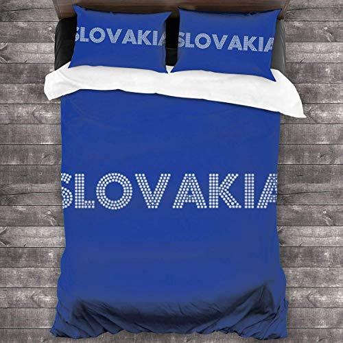 Euro 2016 Fußball Slowakei Slovensko Dots Blue 3-teiliges Bettwäscheset Bettbezug, dekoratives 3-teiliges Bettwäscheset mit 2 Kissenbezügen C11330