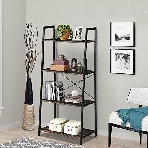 LENTIA Stufenregal Standregal aus Holz und Stahl Bücherregal mit 4 Etagen Leiterregal eckregal...