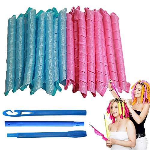 Rpanle Manuelle Lockenwickler Ohne Hitze, 20 Stück heatless hair waves curls und 1 Styling-Haken 50 cm für extra langes Haar, Rosa & Blau