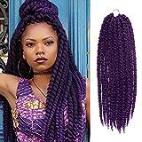 24 Inch 6 Packs AU-THEN-TIC 2X Jumbo Senegalese Twist Crochet Braid Hair Havana Twist Crochet Hair Havana Mambo Twist Crochet Braids Hair Extensions (24 Inch (6 Pack), PURPLE)